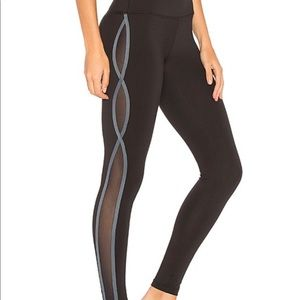 Free People Movement Stripe & Mesh Leggings Black